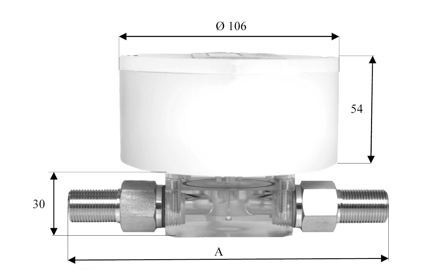 Merilec pretoka G 50-D / G 60-D zaslon dimenzije